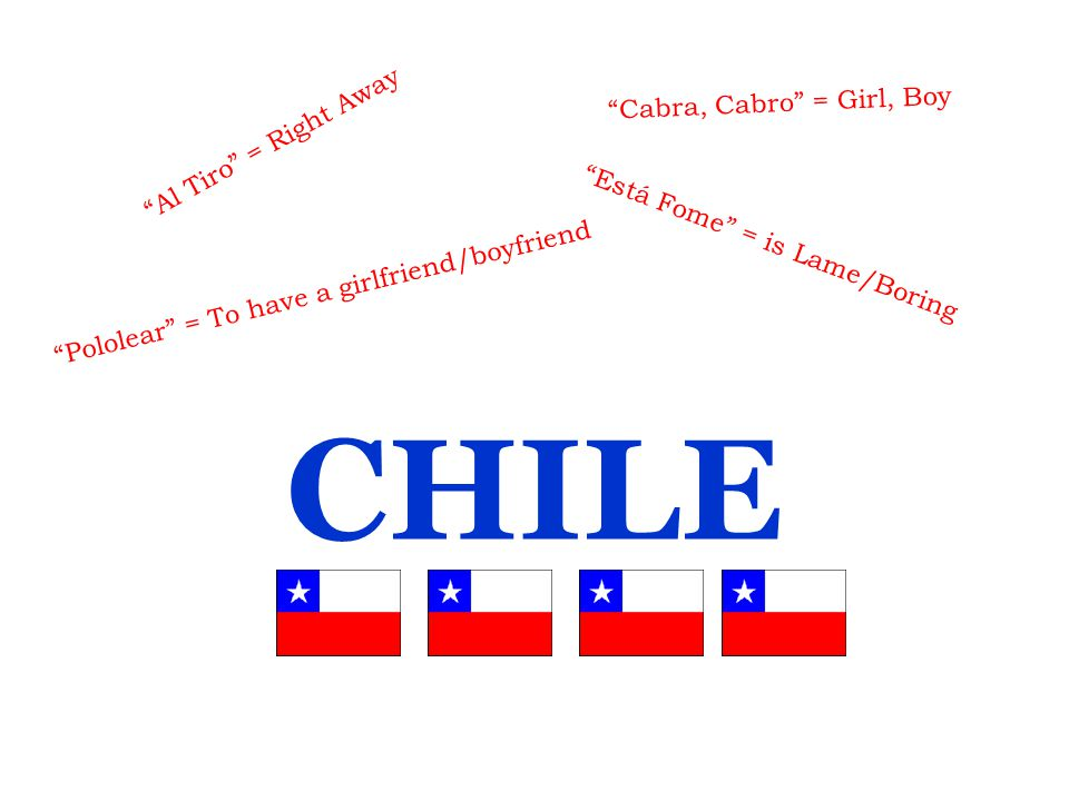 CHILE Al Tiro = Right Away Cabra, Cabro = Girl, Boy Está Fome = is Lame/Boring Pololear = To have a girlfriend/boyfriend