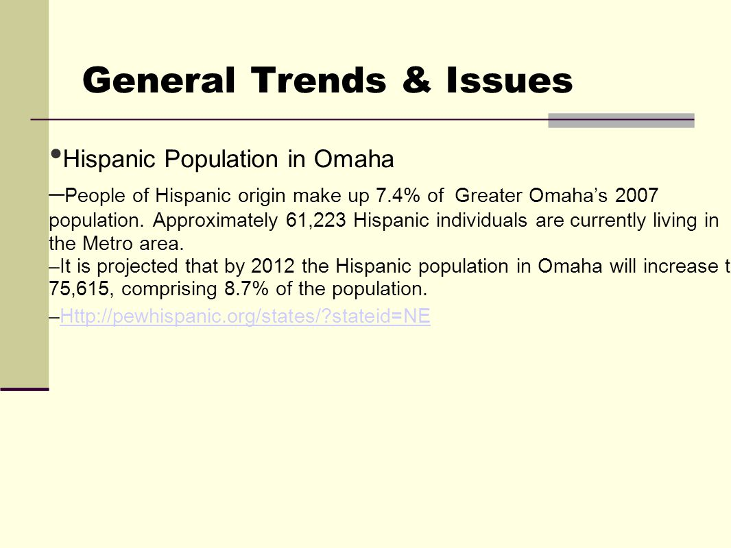 General Trends & Issues Hispanic Population in Omaha – People of Hispanic origin make up 7.4% of Greater Omaha's 2007 population.