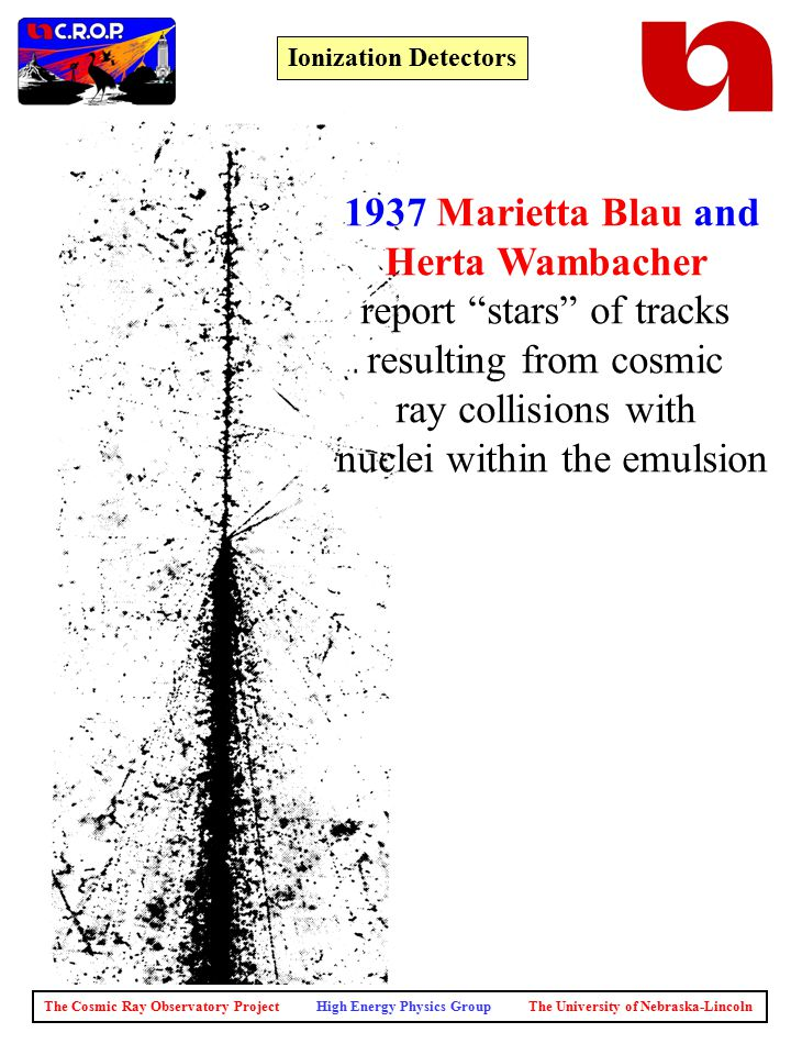 The Cosmic Ray Observatory Project High Energy Physics Group The University of Nebraska-Lincoln Ionization Detectors 1937 Marietta Blau and Herta Wambacher report stars of tracks resulting from cosmic ray collisions with nuclei within the emulsion