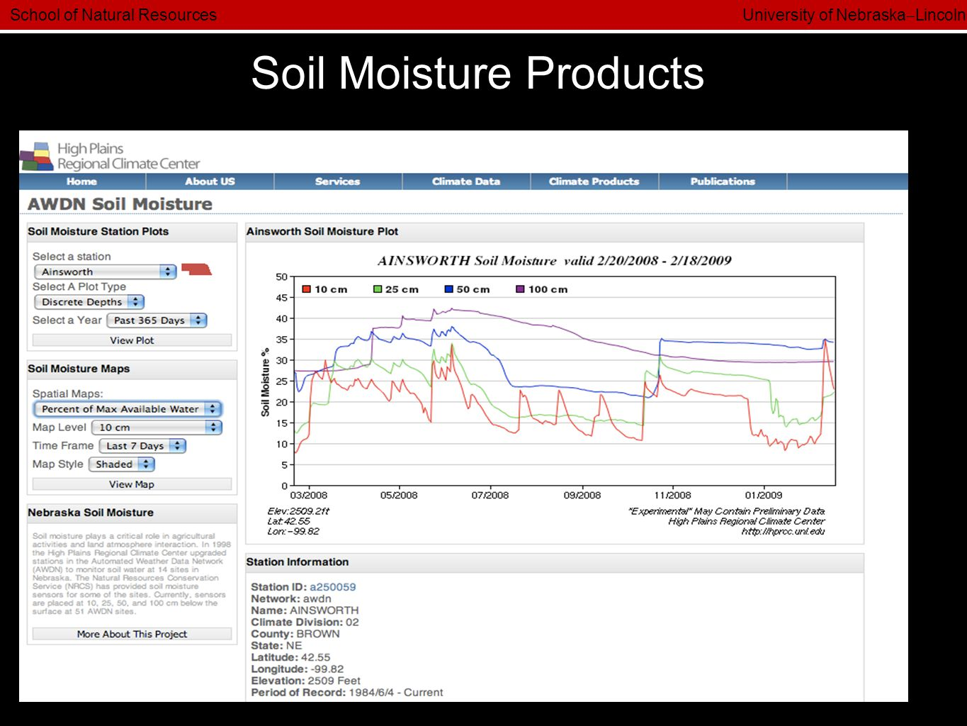 School of Natural Resources University of Nebraska  Lincoln Soil Moisture Products