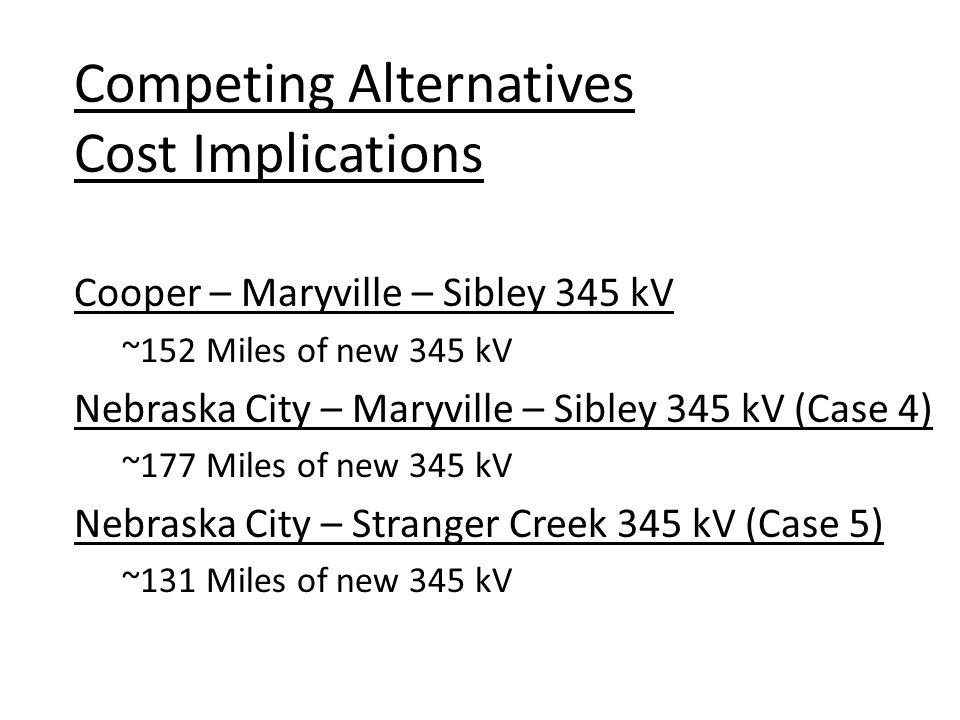 Cooper – Maryville – Sibley 345 kV ~152 Miles of new 345 kV Nebraska City – Maryville – Sibley 345 kV (Case 4) ~177 Miles of new 345 kV Nebraska City