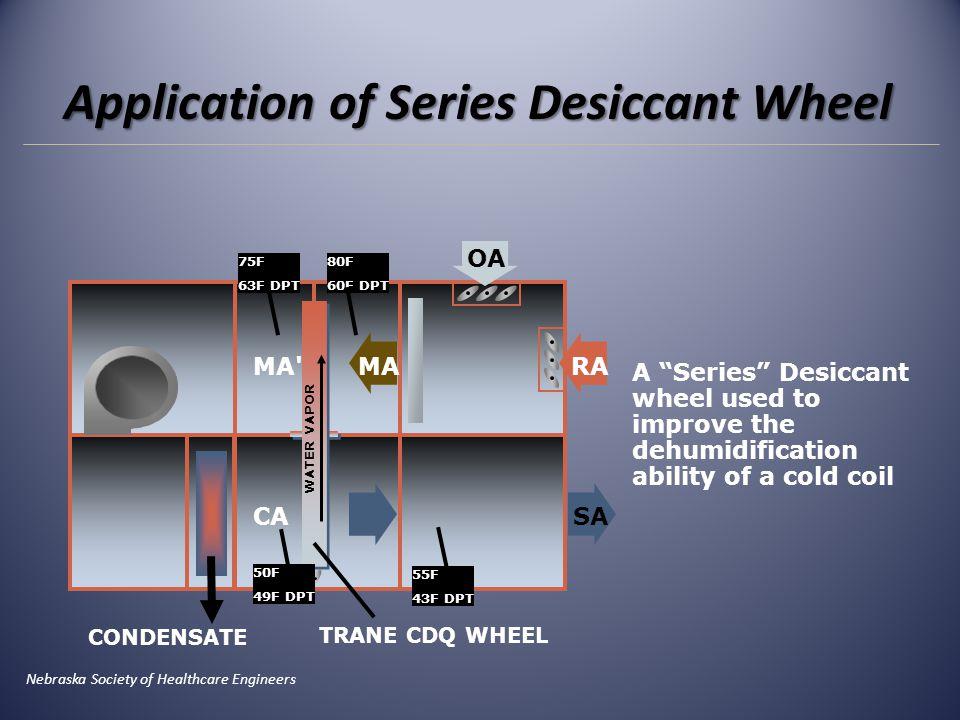 "CA OA RA SA MAMA' WATER VAPOR 50F 49F DPT 55F 43F DPT 80F 60F DPT 75F 63F DPT TRANE CDQ WHEEL A ""Series"" Desiccant wheel used to improve the dehumidif"