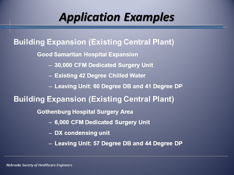 Application Examples Nebraska Society of Healthcare Engineers Building Expansion (Existing Central Plant) Good Samaritan Hospital Expansion –30,000 CF