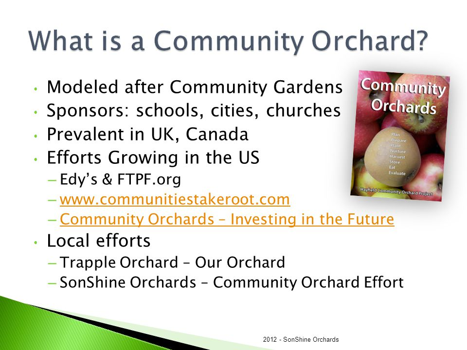 Modeled after Community Gardens Sponsors: schools, cities, churches Prevalent in UK, Canada Efforts Growing in the US – Edy's & FTPF.org – www.communi
