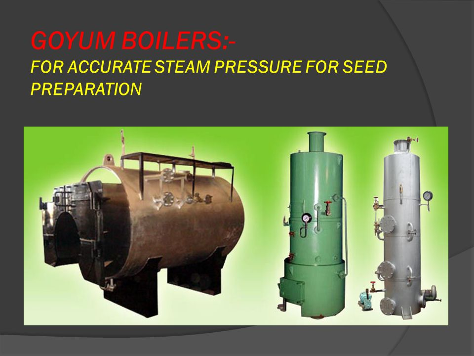 GOYUM BOILERS:- FOR ACCURATE STEAM PRESSURE FOR SEED PREPARATION