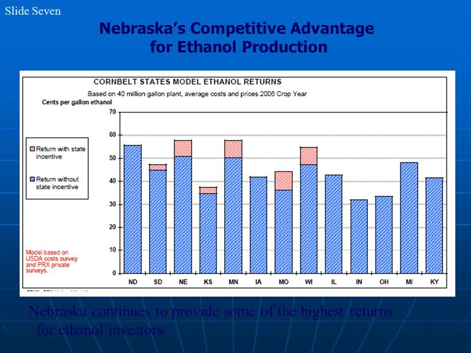 Slide Seven Nebraska's Competitive Advantage for Ethanol Production Nebraska continues to provide some of the highest returns for ethanol investors.