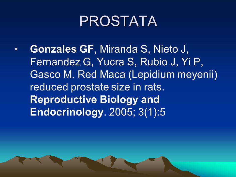 PROSTATA Gonzales GF, Miranda S, Nieto J, Fernandez G, Yucra S, Rubio J, Yi P, Gasco M. Red Maca (Lepidium meyenii) reduced prostate size in rats. Rep