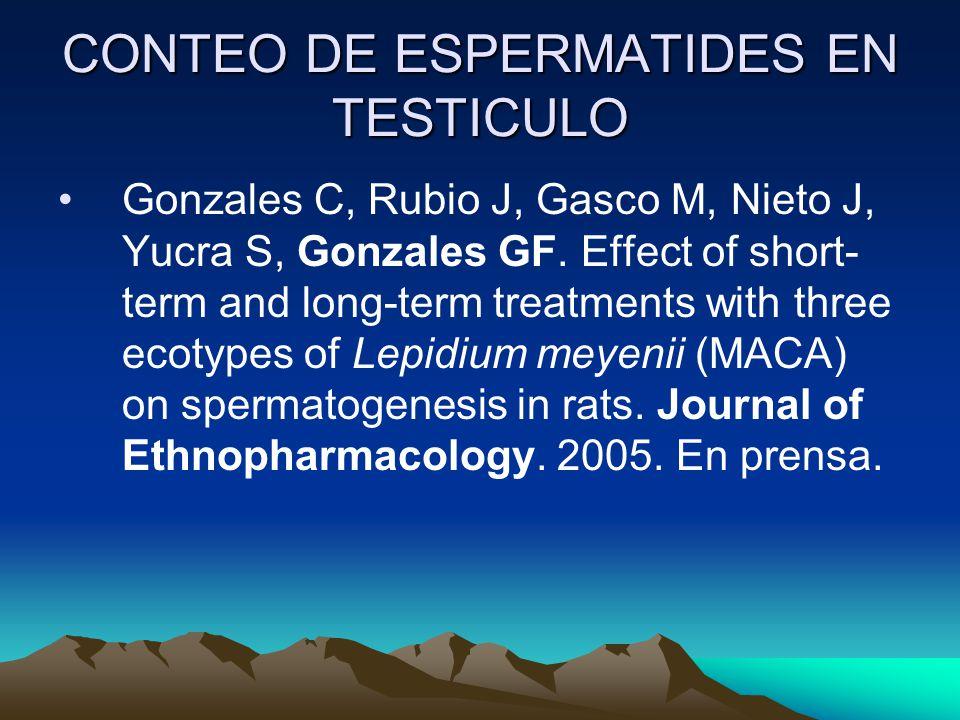 CONTEO DE ESPERMATIDES EN TESTICULO Gonzales C, Rubio J, Gasco M, Nieto J, Yucra S, Gonzales GF. Effect of short- term and long-term treatments with t