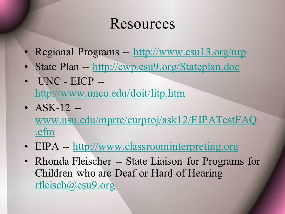 Resources Regional Programs -- http://www.esu13.org/nrphttp://www.esu13.org/nrp State Plan -- http://cwp.esu9.org/Stateplan.dochttp://cwp.esu9.org/Stateplan.doc UNC - EICP -- http://www.unco.edu/doit/litp.htm http://www.unco.edu/doit/litp.htm ASK-12 -- www.usu.edu/mprrc/curproj/ask12/EIPATestFAQ.cfm www.usu.edu/mprrc/curproj/ask12/EIPATestFAQ.cfm EIPA -- http://www.classroominterpreting.orghttp://www.classroominterpreting.org Rhonda Fleischer -- State Liaison for Programs for Children who are Deaf or Hard of Hearing rfleisch@esu9.org rfleisch@esu9.org