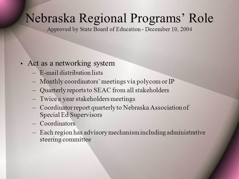 Nebraska Regional Programs' Role Approved by State Board of Education - December 10, 2004 Act as a networking system –E-mail distribution lists –Monthly coordinators' meetings via polycom or IP –Quarterly reports to SEAC from all stakeholders –Twice a year stakeholders meetings –Coordinator report quarterly to Nebraska Association of Special Ed Supervisors –Coordinators –Each region has advisory mechanism including administrative steering committee