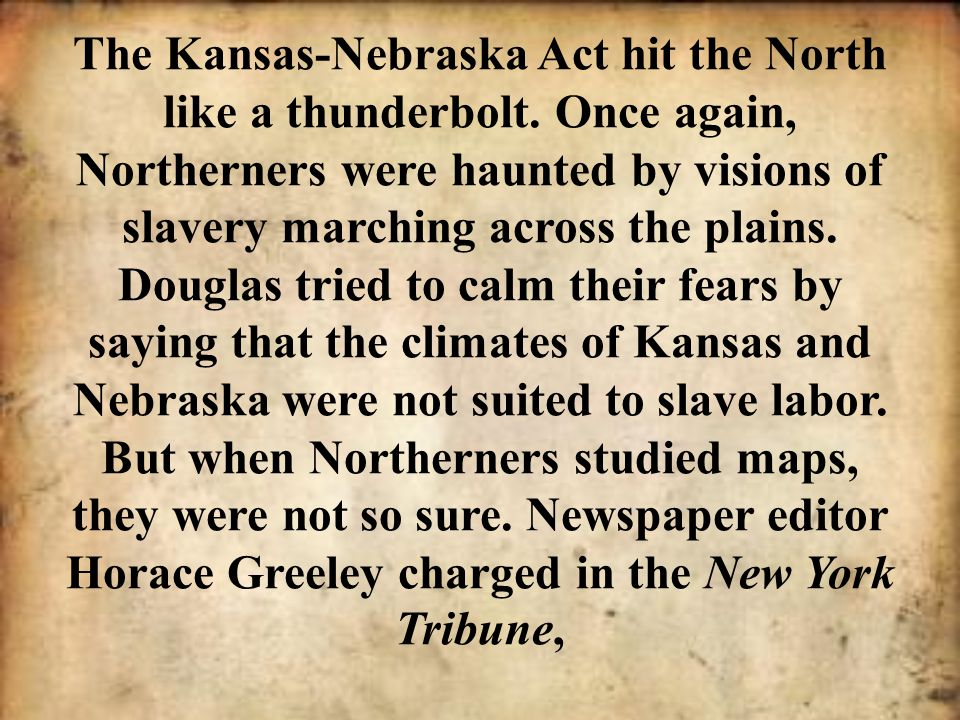 In 1856, Sumner voiced his suspicions in a passionate speech called The Crime Against Kansas. In harsh, shocking language, Sumner described the crime against Kansas as a violent assault on an innocent territory, compelling it to the hateful embrace of slavery.