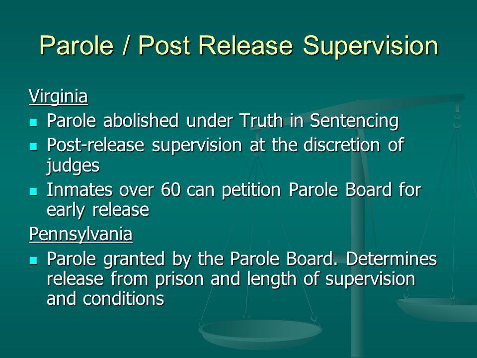 Parole / Post Release Supervision Virginia Parole abolished under Truth in Sentencing Parole abolished under Truth in Sentencing Post-release supervis