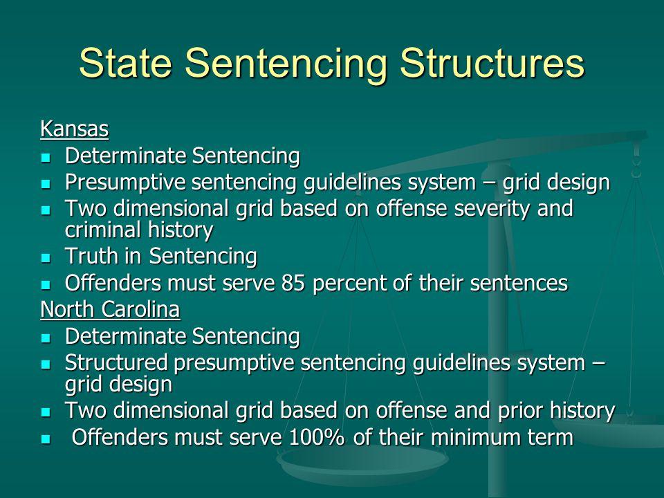 State Sentencing Structures Kansas Determinate Sentencing Determinate Sentencing Presumptive sentencing guidelines system – grid design Presumptive se