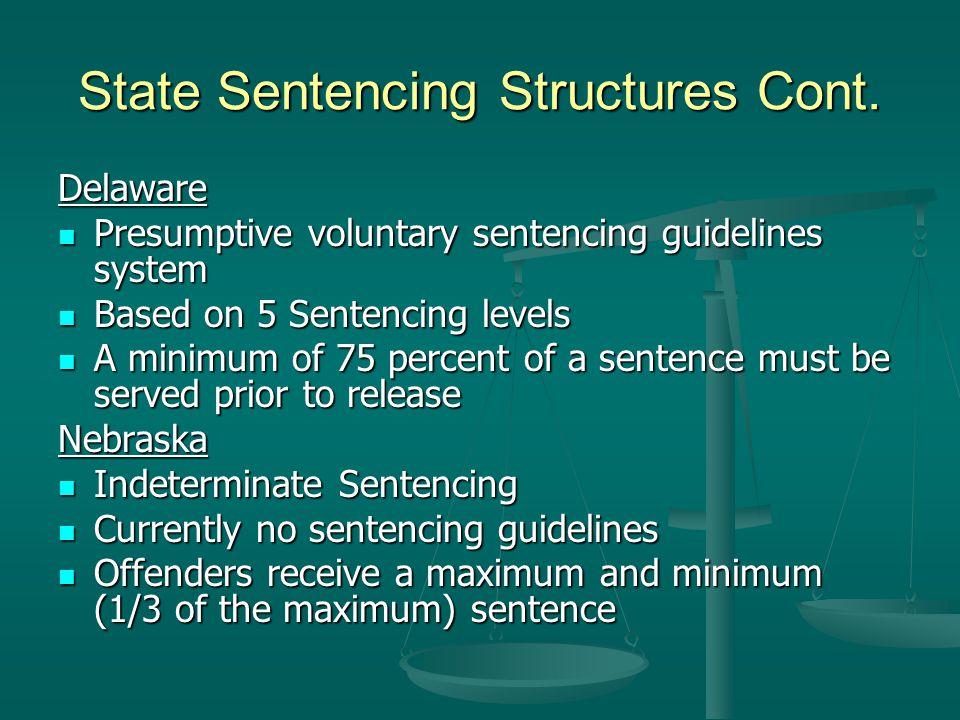 State Sentencing Structures Cont. Delaware Presumptive voluntary sentencing guidelines system Presumptive voluntary sentencing guidelines system Based
