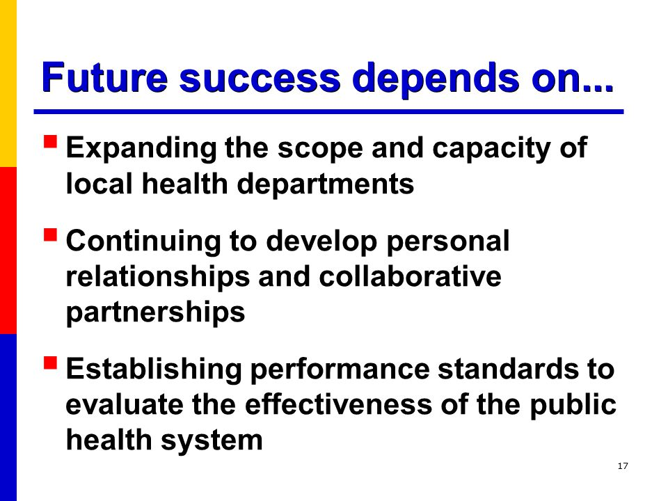 17  Expanding the scope and capacity of local health departments  Continuing to develop personal relationships and collaborative partnerships  Establishing performance standards to evaluate the effectiveness of the public health system Future success depends on...