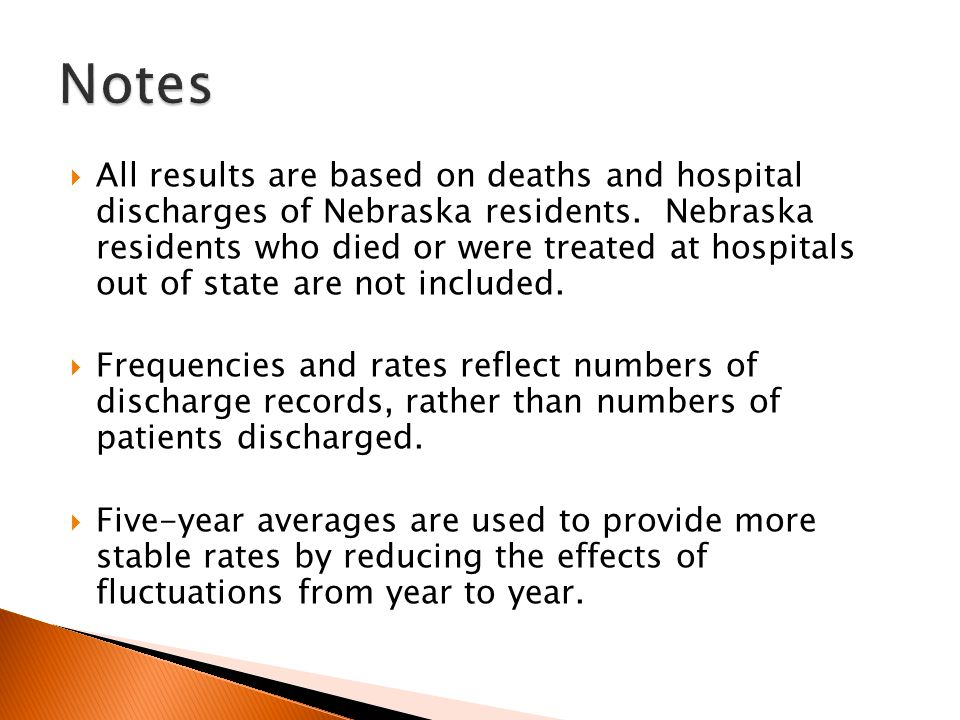  All results are based on deaths and hospital discharges of Nebraska residents.