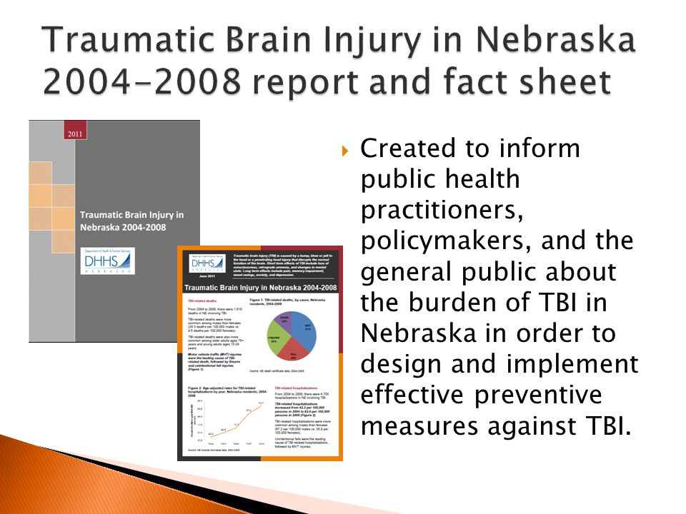  Created to inform public health practitioners, policymakers, and the general public about the burden of TBI in Nebraska in order to design and implement effective preventive measures against TBI.