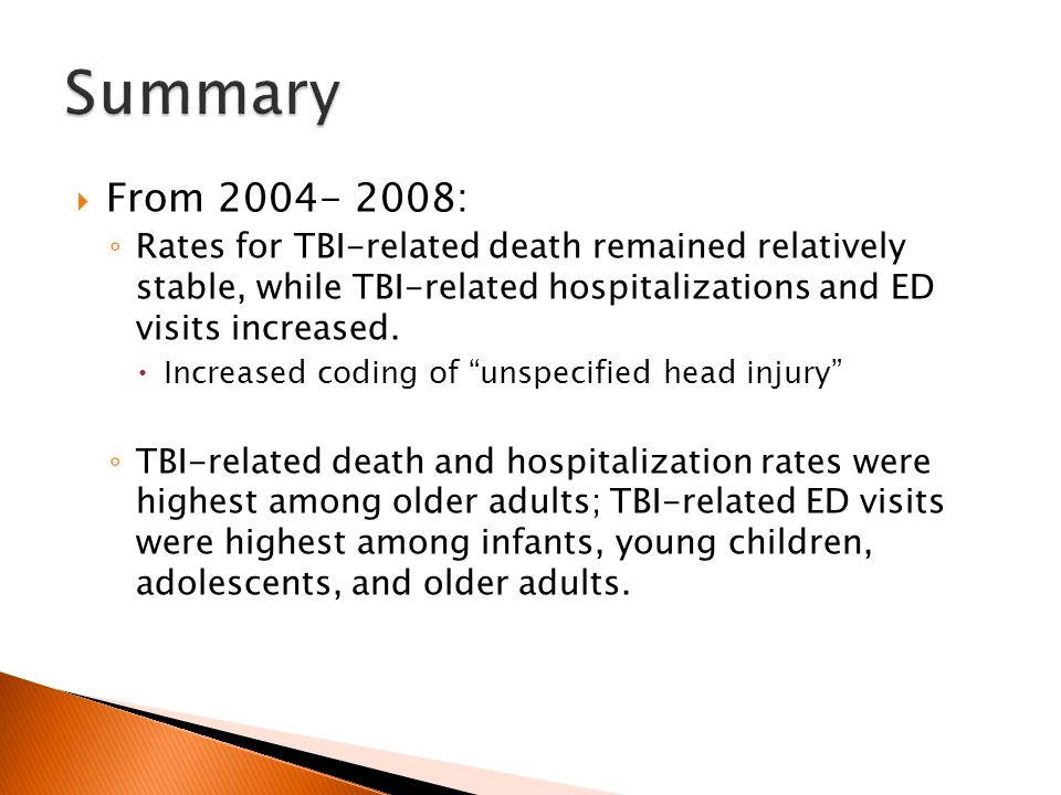  From 2004- 2008: ◦ Rates for TBI-related death remained relatively stable, while TBI-related hospitalizations and ED visits increased.