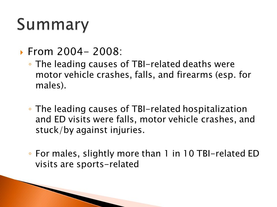  From 2004- 2008: ◦ The leading causes of TBI-related deaths were motor vehicle crashes, falls, and firearms (esp.