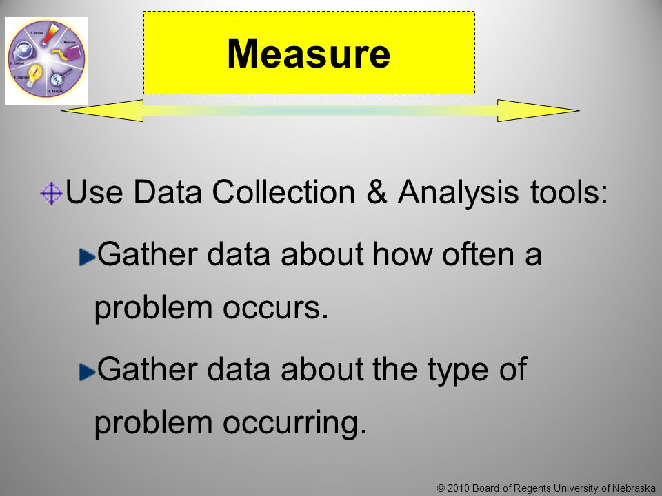 © 2010 Board of Regents University of Nebraska Use Data Collection & Analysis tools: Gather data about how often a problem occurs.