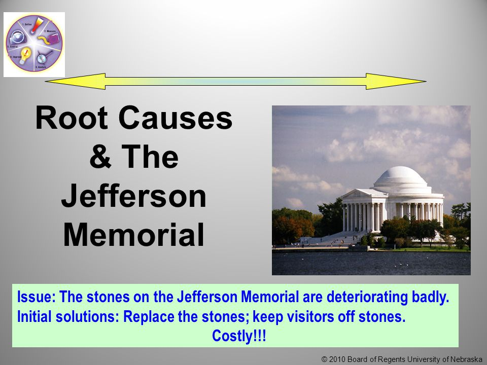 © 2010 Board of Regents University of Nebraska Root Causes & The Jefferson Memorial Issue: The stones on the Jefferson Memorial are deteriorating badly.