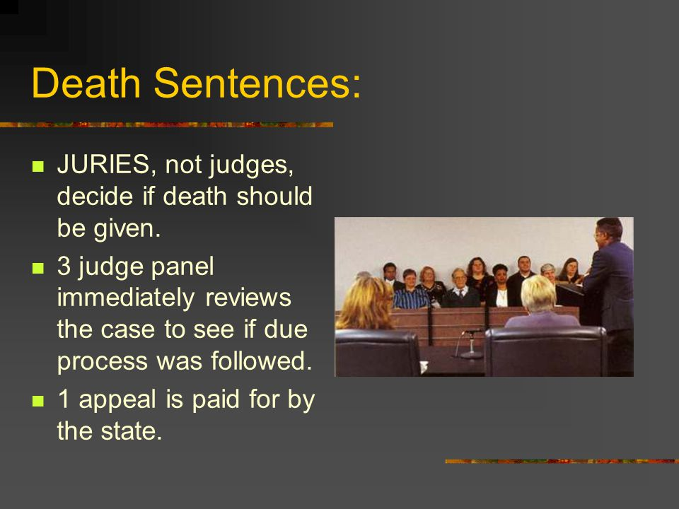 Death Sentences: JURIES, not judges, decide if death should be given.