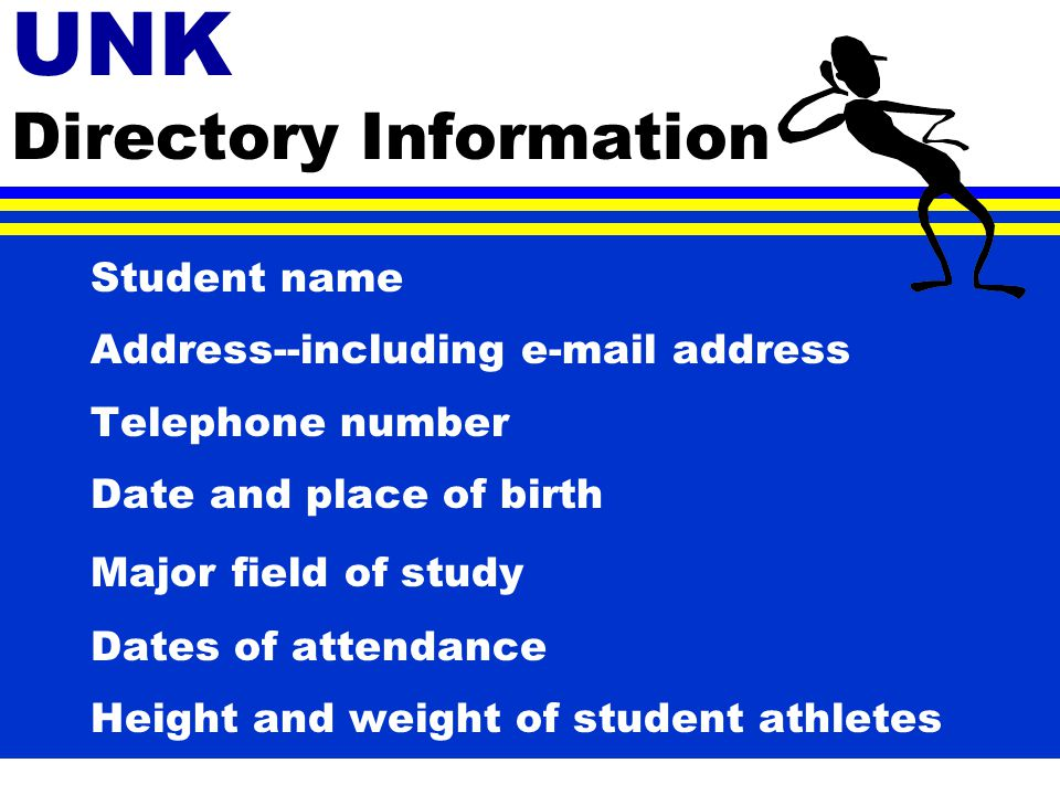 Directory Information * Certain information, known as Directory Information may be released without the student's consent.