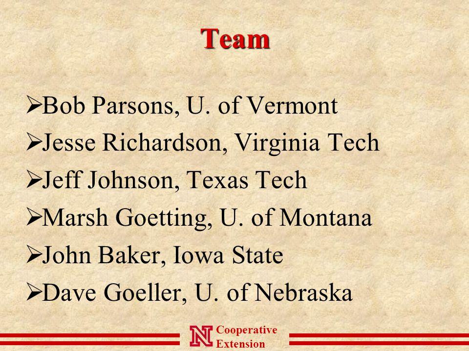 Cooperative ExtensionTeam  Bob Parsons, U.