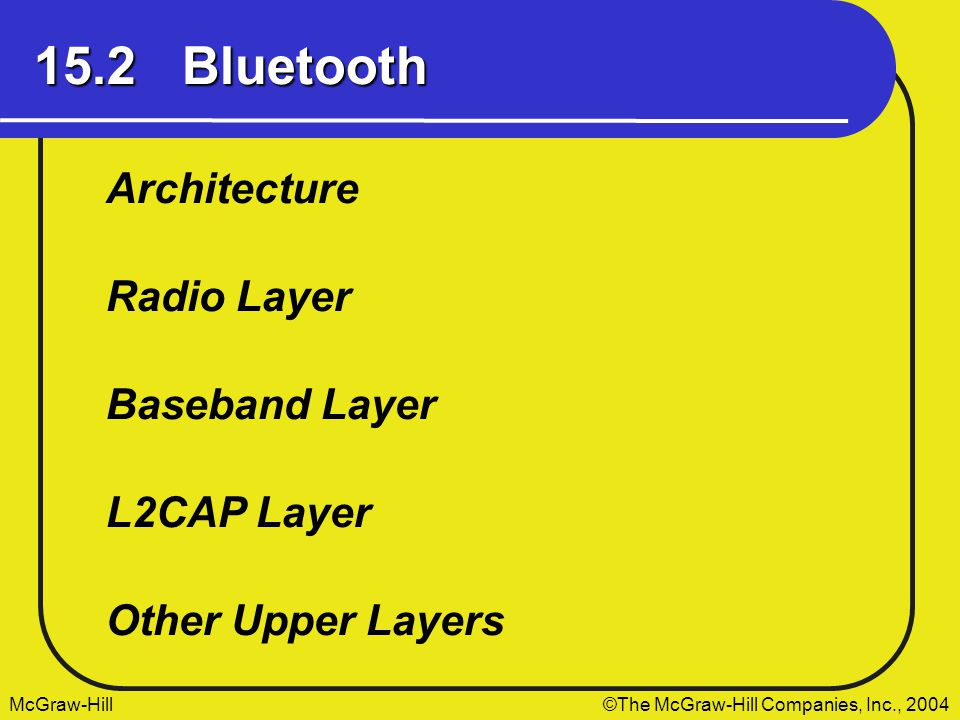 McGraw-Hill The McGraw-Hill Companies, Inc., 2004 15.2 Bluetooth Architecture Radio Layer Baseband Layer Other Upper Layers L2CAP Layer