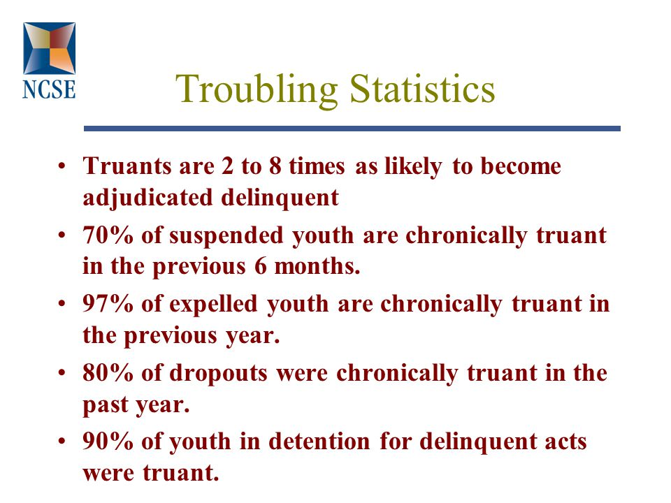 Troubling Statistics Truants are 2 to 8 times as likely to become adjudicated delinquent 70% of suspended youth are chronically truant in the previous 6 months.