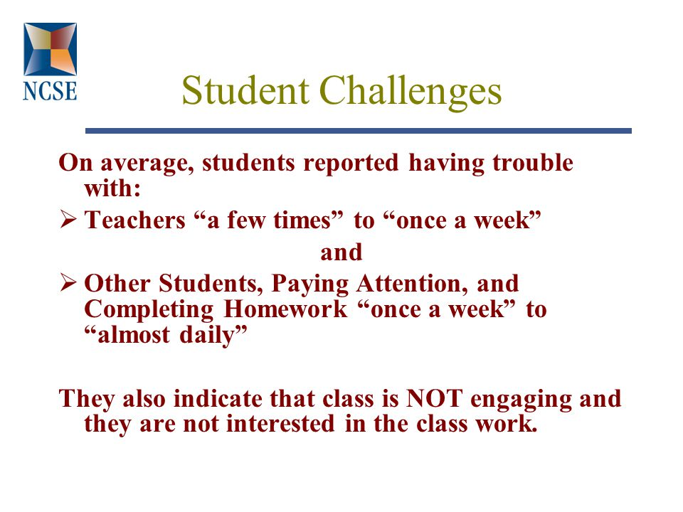 Student Challenges On average, students reported having trouble with:  Teachers a few times to once a week and  Other Students, Paying Attention, and Completing Homework once a week to almost daily They also indicate that class is NOT engaging and they are not interested in the class work.