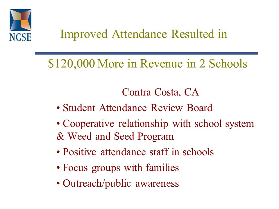 Improved Attendance Resulted in $120,000 More in Revenue in 2 Schools Contra Costa, CA Student Attendance Review Board Cooperative relationship with school system & Weed and Seed Program Positive attendance staff in schools Focus groups with families Outreach/public awareness