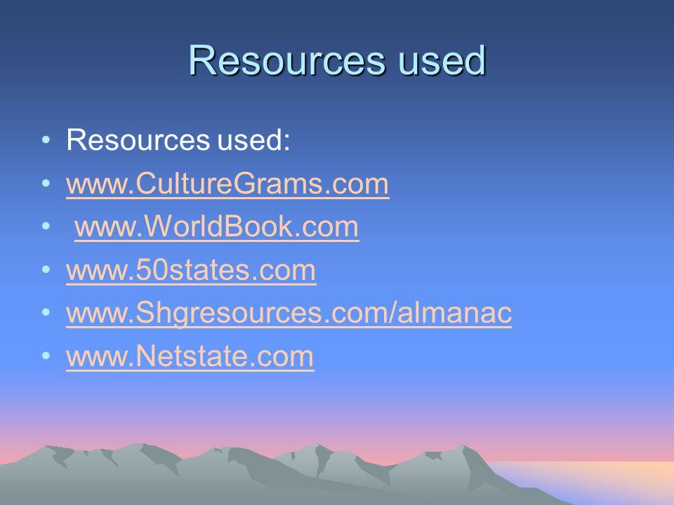 Resources used Resources used: www.CultureGrams.com www.WorldBook.com www.50states.com www.Shgresources.com/almanac www.Netstate.com