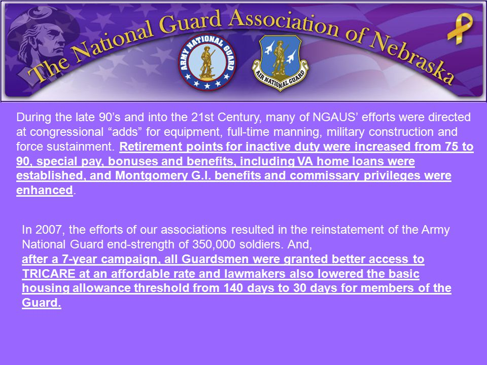 """During the late 90's and into the 21st Century, many of NGAUS' efforts were directed at congressional """"adds"""" for equipment, full-time manning, militar"""