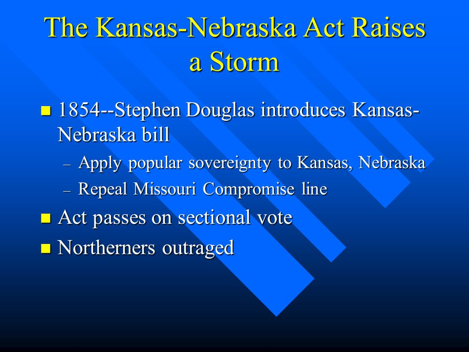 The Kansas-Nebraska Act Raises a Storm n 1854--Stephen Douglas introduces Kansas- Nebraska bill – Apply popular sovereignty to Kansas, Nebraska – Repeal Missouri Compromise line n Act passes on sectional vote n Northerners outraged