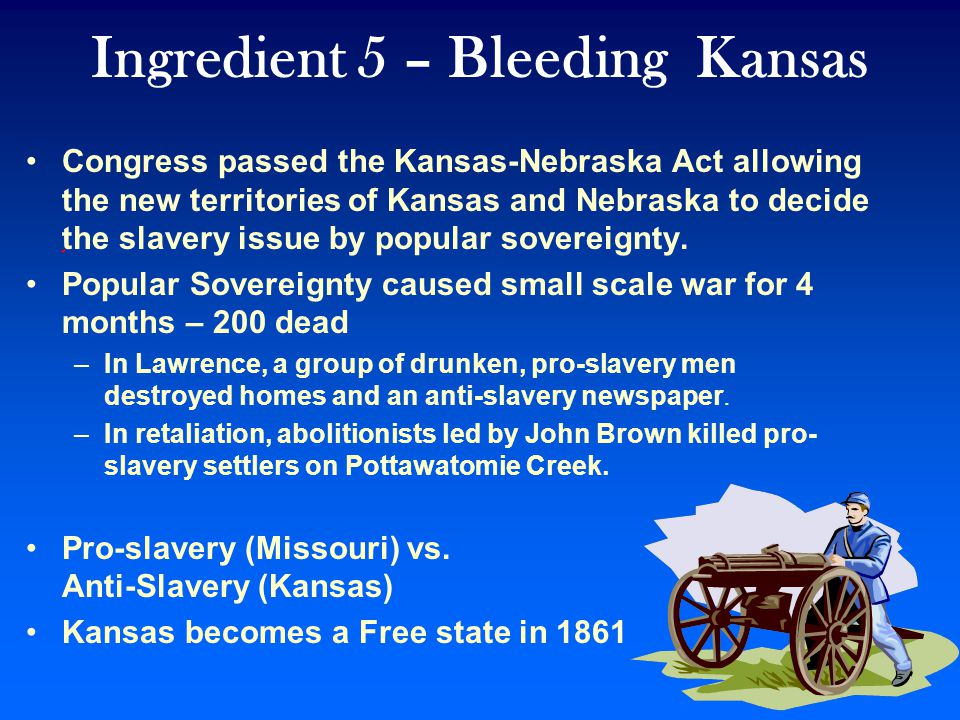 Ingredient 4 - KANSAS-NEBRASKA ACT: 1854 Proposed by Stephen Douglas- Angered Lincoln Kansas- Nebraska Act -Allowed Kansas and Nebraska territories popular sovereignty about slavery –Popular sovereignty means control by the people.