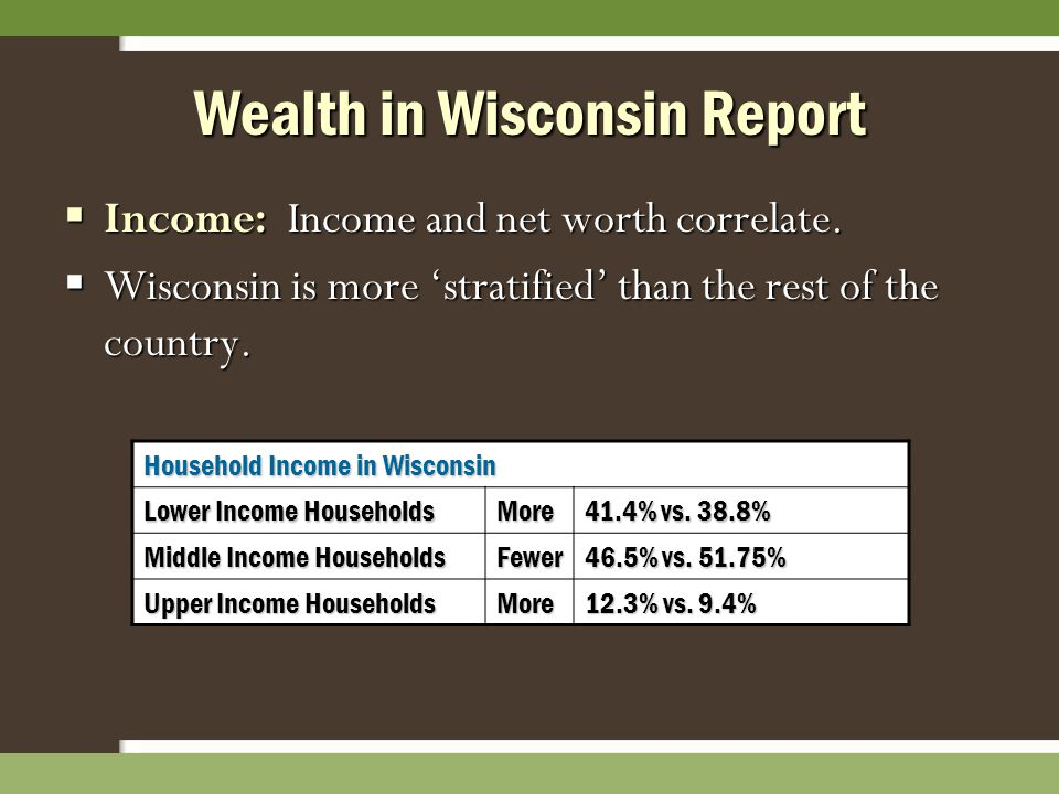 Wealth in Wisconsin Report  Income: Income and net worth correlate.  Wisconsin is more 'stratified' than the rest of the country. Household Income i