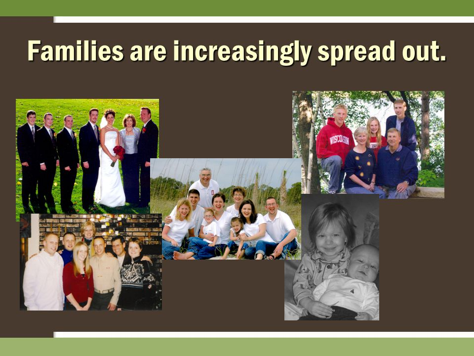 Families are increasingly spread out.
