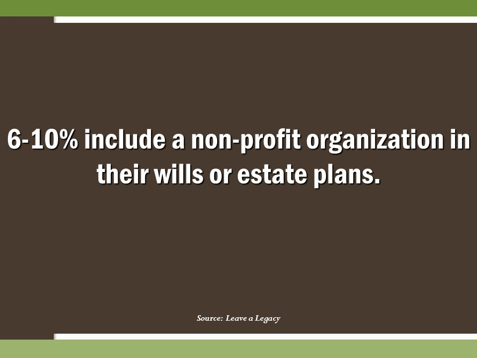 6-10% include a non-profit organization in their wills or estate plans. Source: Leave a Legacy