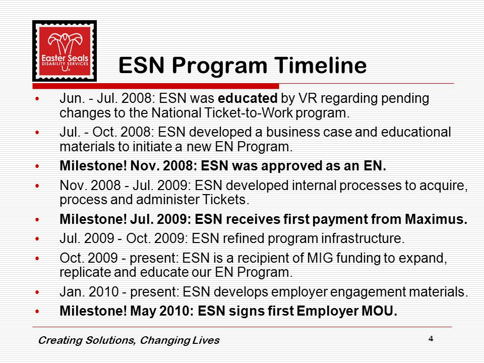 Creating Solutions, Changing Lives 4 ESN Program Timeline Jun.