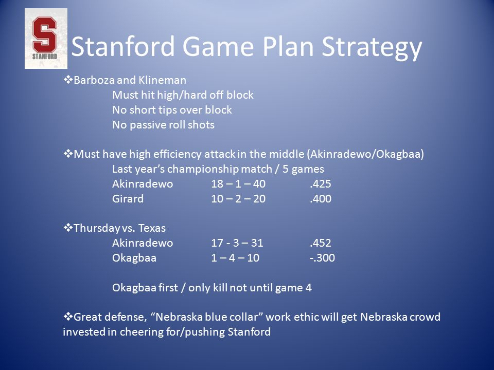 Stanford Game Plan Strategy  Barboza and Klineman Must hit high/hard off block No short tips over block No passive roll shots  Must have high efficiency attack in the middle (Akinradewo/Okagbaa) Last year's championship match / 5 games Akinradewo 18 – 1 – 40.425 Girard 10 – 2 – 20.400  Thursday vs.