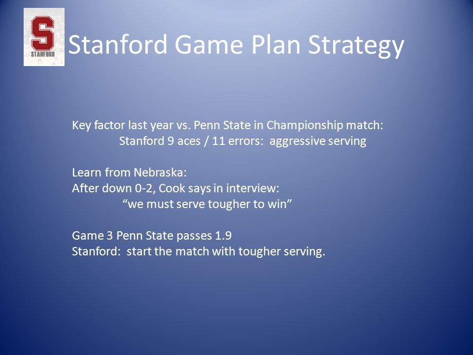 Stanford Game Plan Strategy Key factor last year vs.