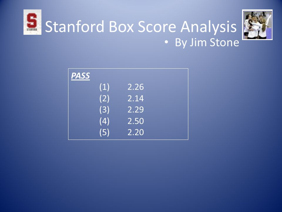 Stanford Box Score Analysis By Jim Stone PASS (1)2.26 (2)2.14 (3)2.29 (4)2.50 (5)2.20