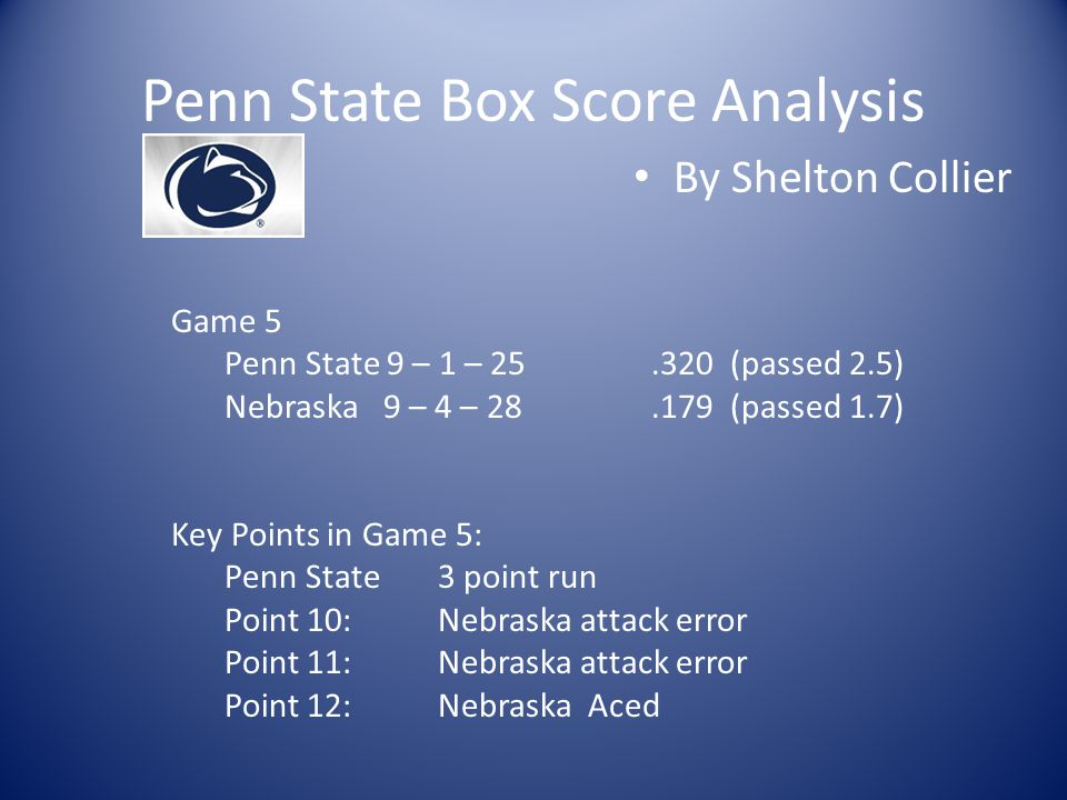 Penn State Box Score Analysis By Shelton Collier Game 5 Penn State 9 – 1 – 25.320 (passed 2.5) Nebraska 9 – 4 – 28.179 (passed 1.7) Key Points in Game 5: Penn State3 point run Point 10:Nebraska attack error Point 11:Nebraska attack error Point 12:Nebraska Aced