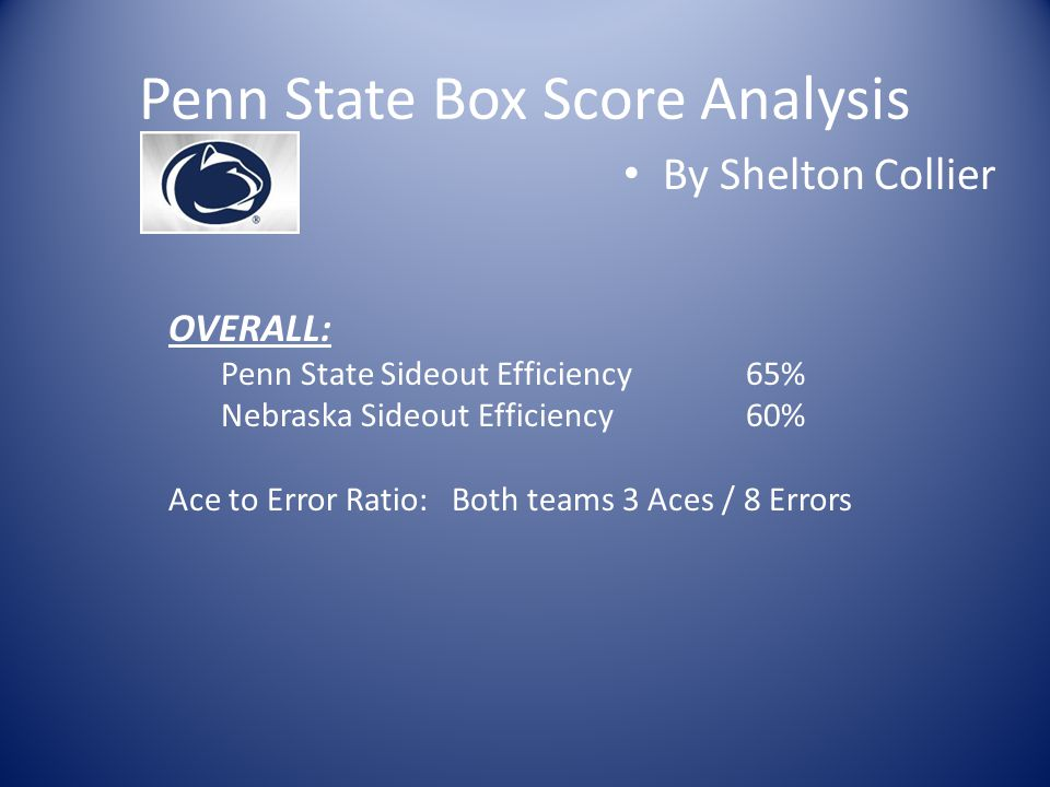 Penn State Box Score Analysis By Shelton Collier OVERALL: Penn State Sideout Efficiency65% Nebraska Sideout Efficiency60% Ace to Error Ratio: Both tea