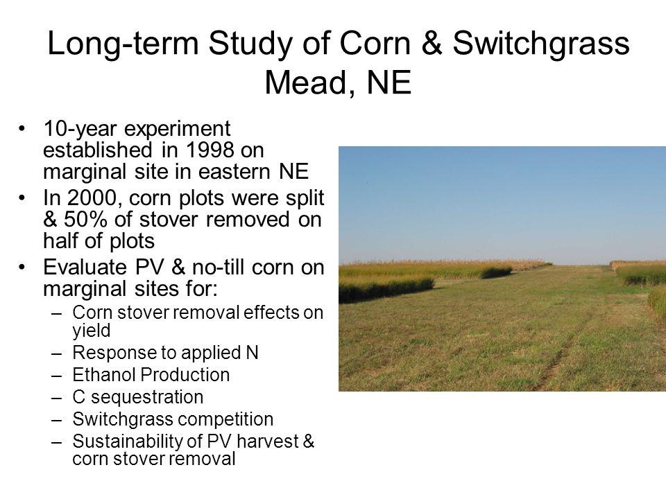 Long-term Study of Corn & Switchgrass Mead, NE 10-year experiment established in 1998 on marginal site in eastern NE In 2000, corn plots were split &