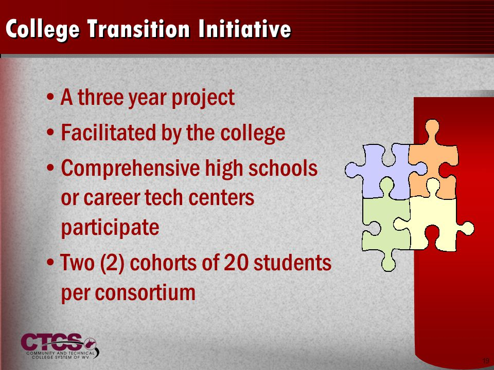 19 College Transition Initiative A three year project Facilitated by the college Comprehensive high schools or career tech centers participate Two (2) cohorts of 20 students per consortium