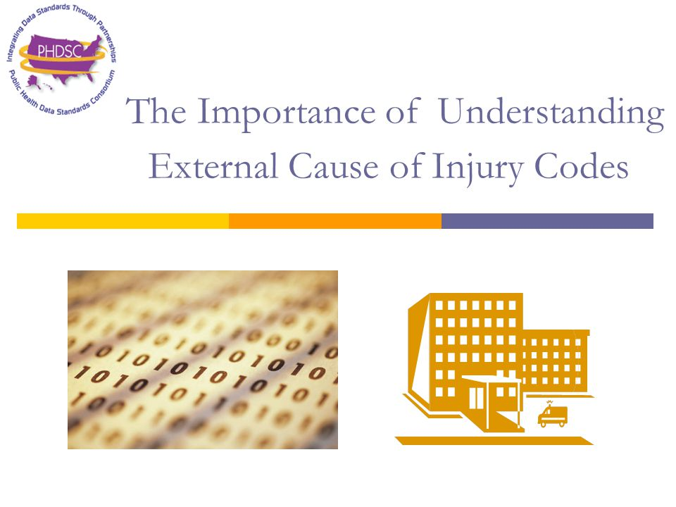 This presentation is designed to:  Define external cause of injury codes  Inform and Educate health care providers, policymakers, and the public health community about current State practice in the collection and use of external cause of injury codes  Propose the next steps necessary to improve external cause code reporting