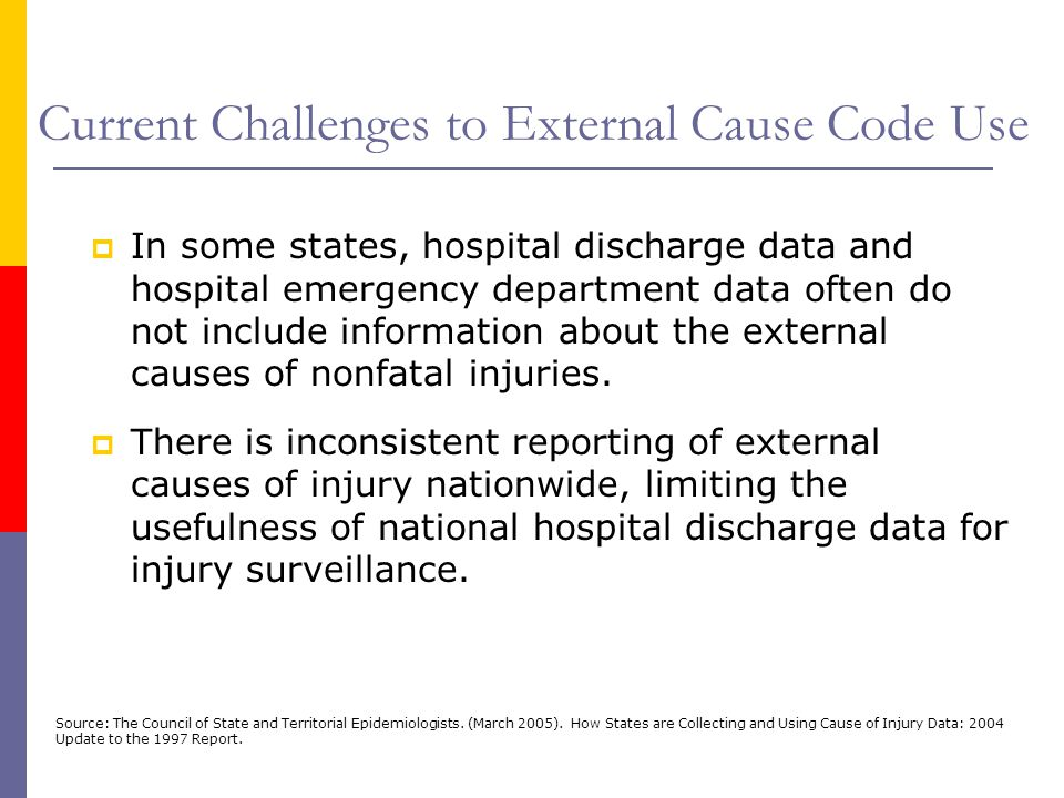 Current Challenges to External Cause Code Use  In some states, hospital discharge data and hospital emergency department data often do not include in