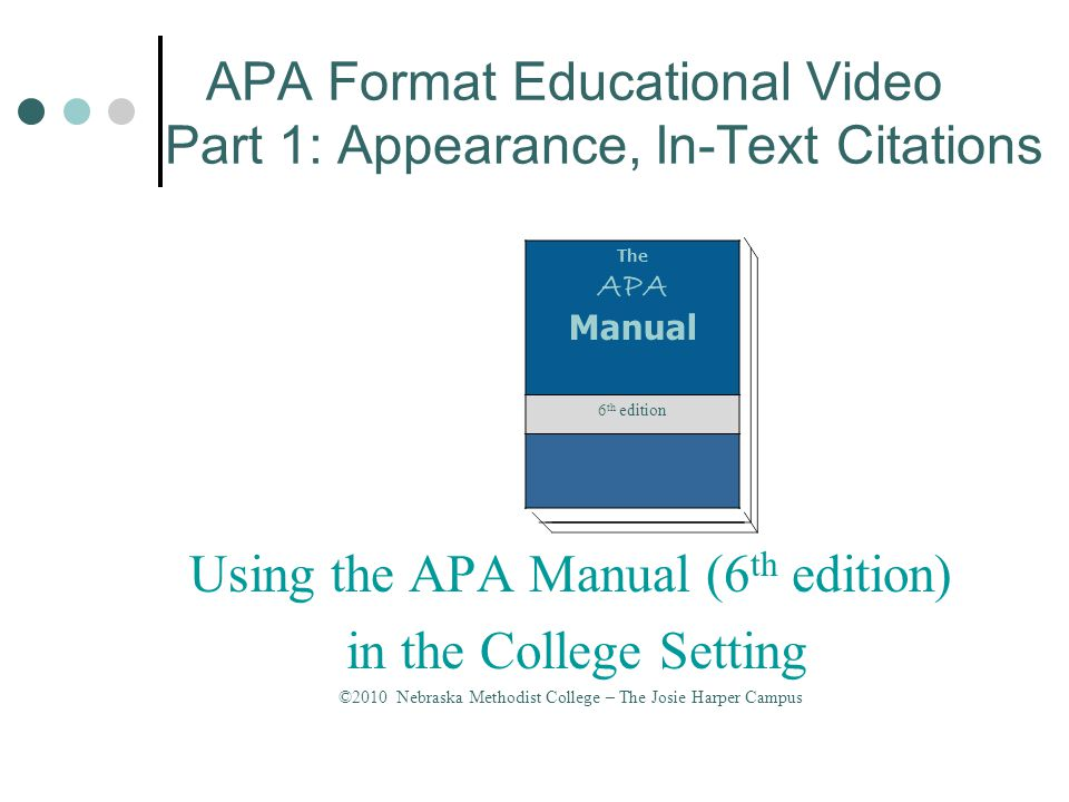 APA Format Educational Video Part 2: The Reference List Using the APA Manual (6 th edition) in the College Setting © 2010 Nebraska Methodist College – The Josie Harper Campus The APA Manual 6 th edition